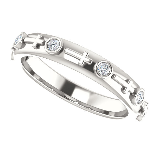 Bezel Set Cross Christian Ring For Women