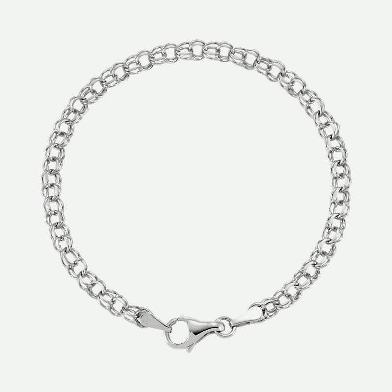 Top view of Solid White Gold Christian Charm Bracelet for women