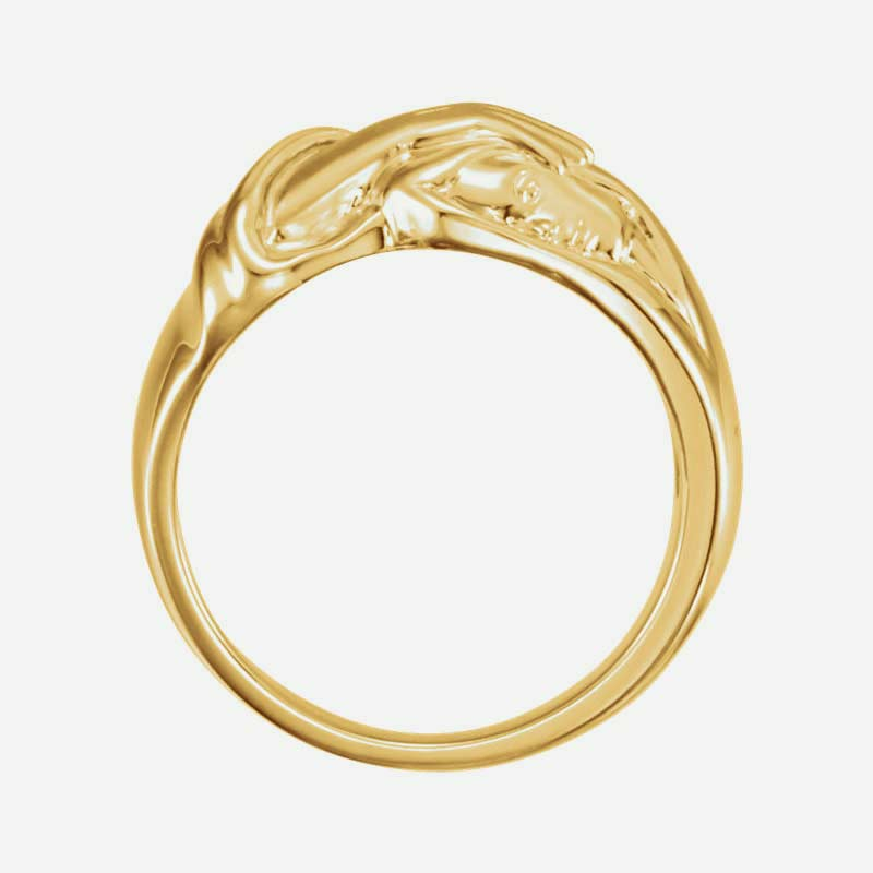 Top view of yellow gold Hand of Christ Christian ring