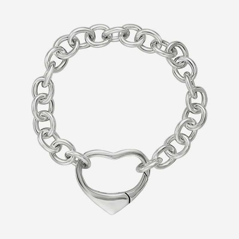 Top view of sterling silver Christian bracelet with heart clasp