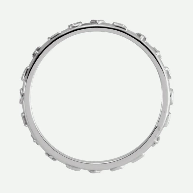 Top view of white gold TRUE LOVE chastity ring