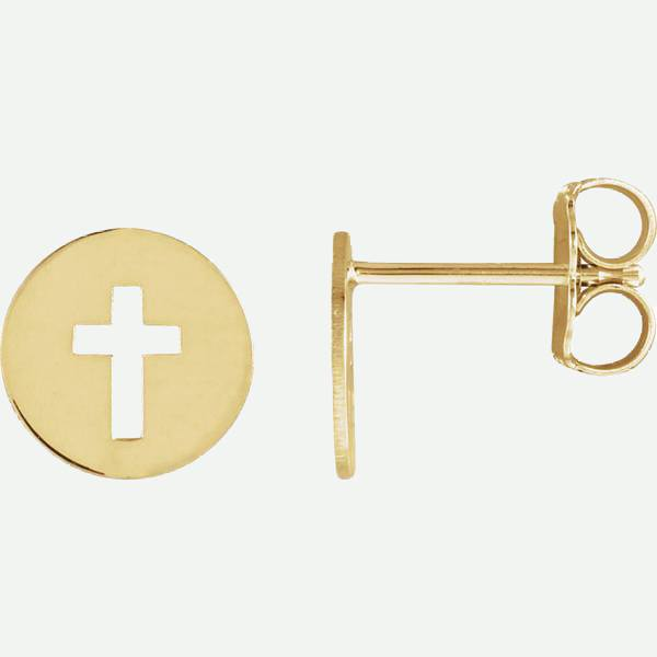 Side View of Pierced Cross 14K Yellow Gold Christian Earring | Glor-e