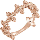 Oblique view of rose gold Beaded Cross Christian Ring For Women