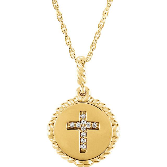 Front view of yellow gold Rope Cross Diamond Christian Necklace
