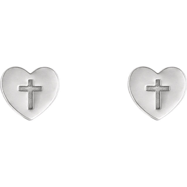 Heart & Cross Christian Earrings For Women