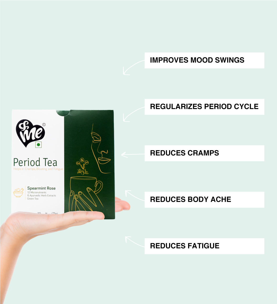 Period tea helps to reduce period cramps regularises period cycles