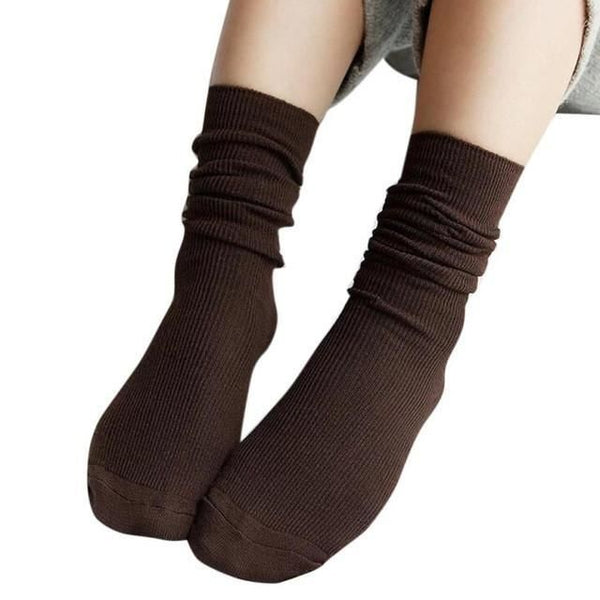 1 Pair Fashion Brand New Girls Womens Soft Knitting Socks Casual Cotton Middle Solid 10 Colors Tube #lsn Coffee