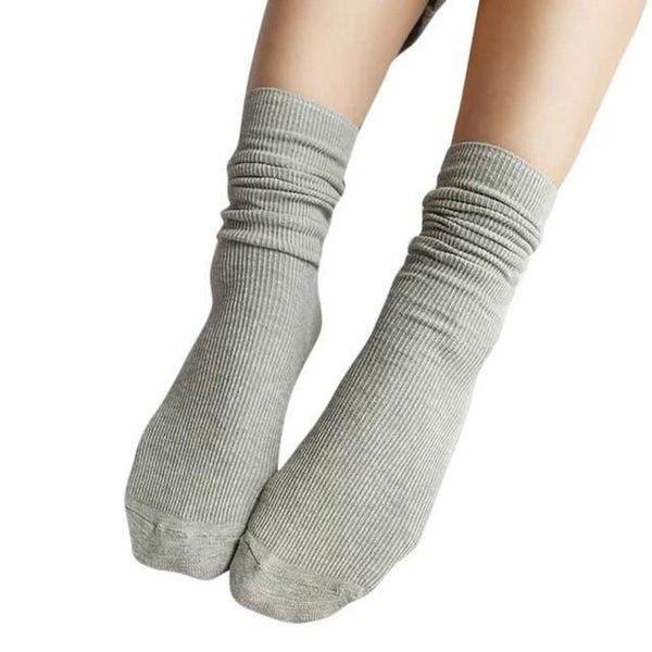 1 Pair Fashion Brand New Girls Womens Soft Knitting Socks Casual Cotton Middle Solid 10 Colors Tube #lsn Gray