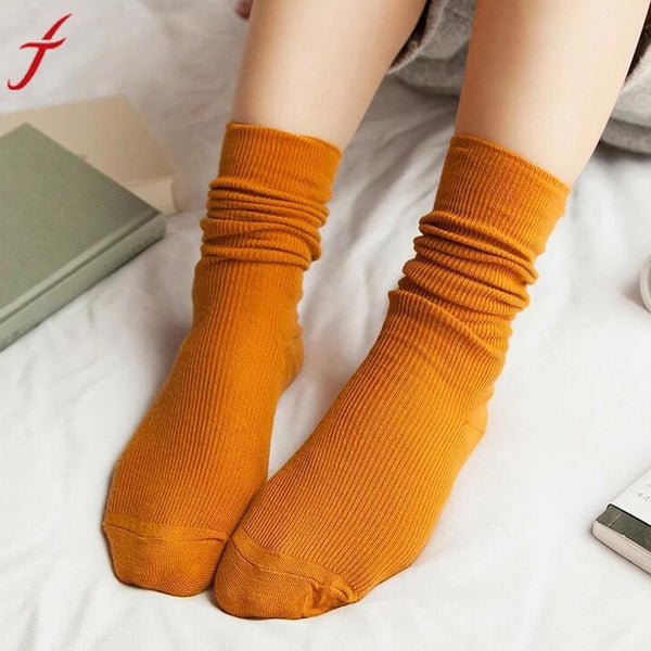 1 Pair Fashion Brand New Girls Womens Soft Knitting Socks Casual Cotton Middle Solid 10 Colors Tube #lsn