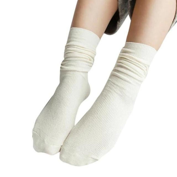 1 Pair Fashion Brand New Girls Womens Soft Knitting Socks Casual Cotton Middle Solid 10 Colors Tube #lsn White