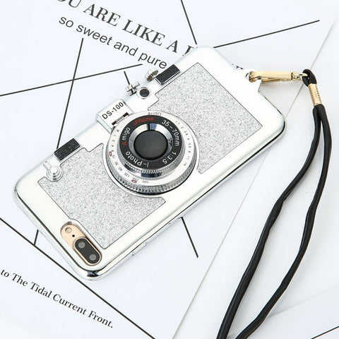 Luxury 3D Plating Camera Phone Cases For iphone 7 6 6s Plus Case High Quality Soft Back Cover Stand Holder Mirror With Lanyard - Fashion Shopping 247