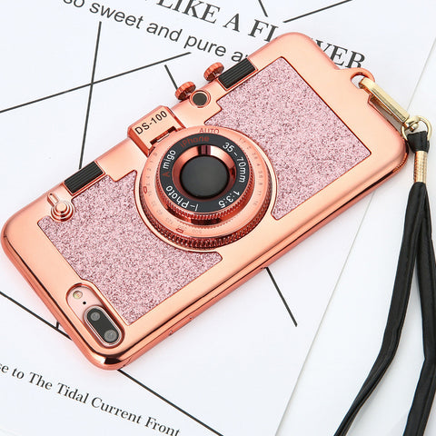 Luxury 3D Retro Camera Phone Cases For iphone 7 6 6s Plus Case Fashion Plating Soft Back Cover Long Strap Rope With Stand Holder - Fashion Shopping 247