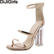 DiJiGirls Latest Women Open Toe Strappy Ankle Strap Gold Sandals Crystal Transparent Clear Block Thick High Heel Sequined Shoes - Fashion Shopping 247