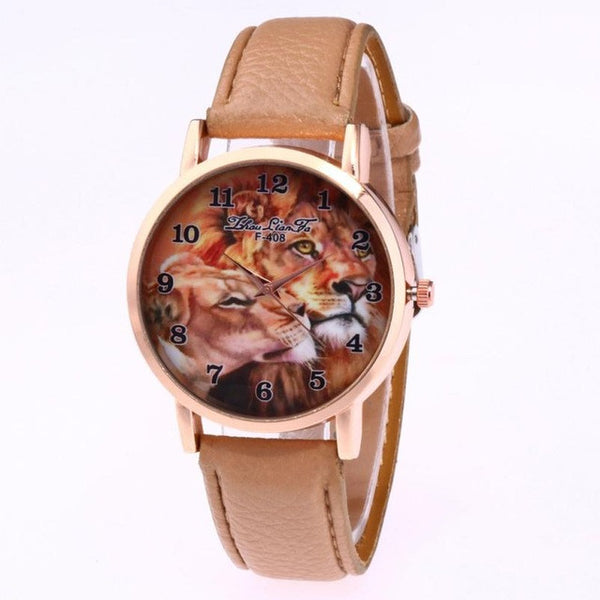 Luxury Brand leisure Quartz Watch Ladies Top Special Design Women Leather Lion Printing Dress Hour Female Waterproof Wrist Watch - Fashion Shopping 247