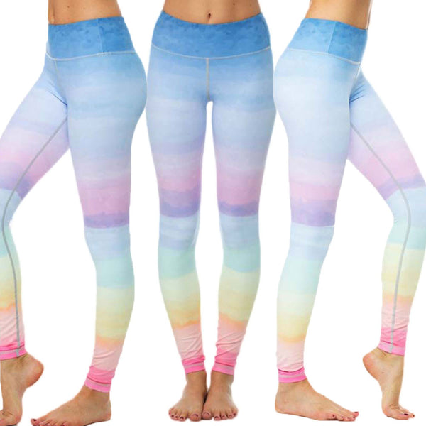 Rainbow Gym Running Tights Women High Elastic Yoga Pants Anti-sweat Fitness Sport Leggings Dance Workout Trousers wholesales #EW - Fashion Shopping 247
