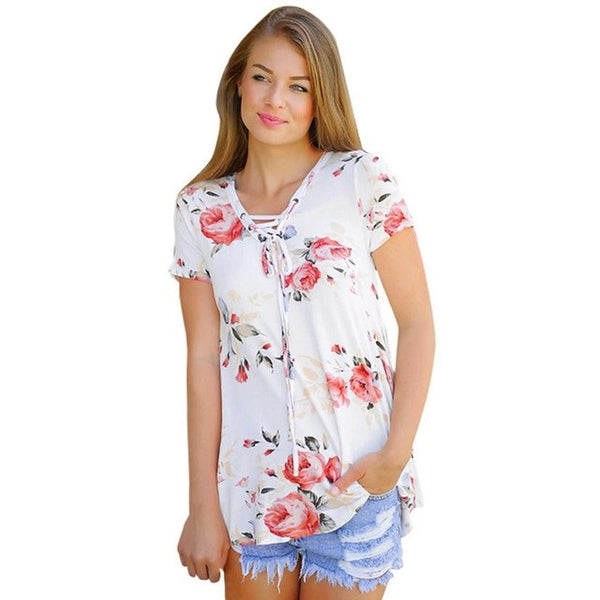 Summer T Shirt Women Floral Printed Criss Cross Printing Loose Short Sleeve O Neck Cotton harajuku Tops Blusa - Fashion Shopping 247