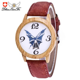 ZHOULIANFA Brand Bat pattern Unisex Quartz Watch 2017 Halloween Leather Analog Wrist Simple Watch Denim Wooden Wristwatches - Fashion Shopping 247