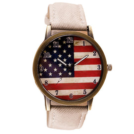 American Flag Pattern Leather Band Analog Quartz Vogue Wrist Watches White