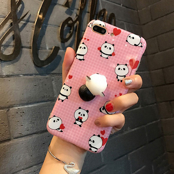3D Cartoon Cute Soft Silicone Squishy Panda Cat Fundas Cover Case for iPhone 6 6S 7 Plus Phone Cases Coque Stress relief Shell - Fashion Shopping 247