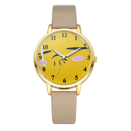 Neutral Cute Expression Fashion Leather Quartz Wrist Watch - Fashion Shopping 247