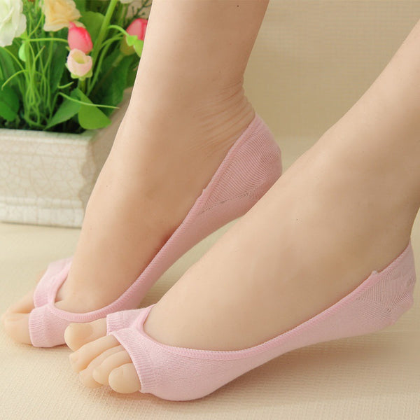6 Pairs Invisible Peep Toe Socks Non-slip Heel Grip Low Cut Ankle Liner Aloe Fiber Toeless Socks - Fashion Shopping 247