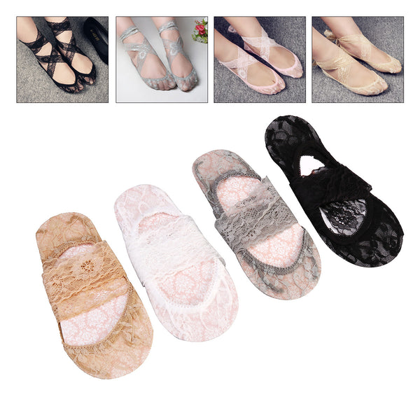 4 Pairs Women Low Cut Liner Socks Semi-sheer No Show Invisible Lace Socks Anti-Skid with Front Sponge Pad and Cross Tie Band - Fashion Shopping 247