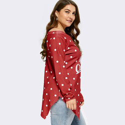 Merry Christmas Women Letter Dots Tops Sweatshirt Pullover Blouse T-Shirt - Fashion Shopping 247