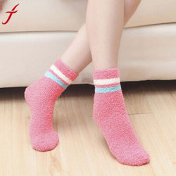 Fashion High Quality 8 Colors Mens Women Warm Coral Fleece Stripe Slipper Non-slip Cotton Socks Floor Towel #LSN - Fashion Shopping 247