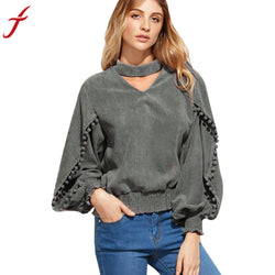 Spring Summer 2017 Fashion Women Blouses Hanging Neck Long sleeve Sexy V-Neck Shirt Top Casual Gray Loose Ladies Blusas - Fashion Shopping 247