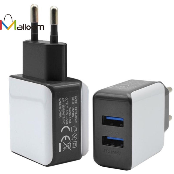 2017 Charger Usb 3A 2 Ports EU Plug USB Wall Travel AC Charger For Samsung Galaxy S7 #25 - Fashion Shopping 247