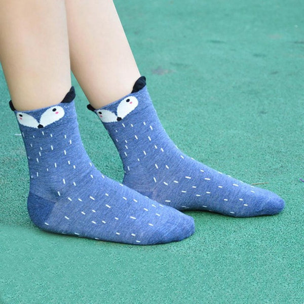1Pair Funny Socks Women Cute Little Animal Fox Printed Lady Socks harajuku designer fashion street In The Tube Socks For Autumn - Fashion Shopping 247