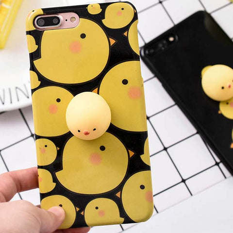 Squishy Mobile Phone Cases for iPhone 7 6 6s Plus Case Funny Pressure Release toys 3D Cute Cartoon Chicken Phone Cover Bag Shell - Fashion Shopping 247