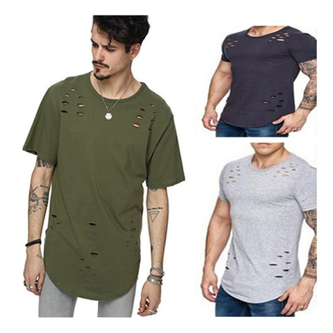 Street Wear T-shirt Holes Hip Hop Short Sleeve T-shirts Men O-neck Loose Tops - Fashion Shopping 247