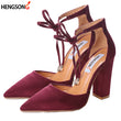 2017 High Heels Women's Sandals Spring Autumn Flock Shoes Woman Ladies Pumps Sexy Thin Air Heels Footwear Women Shoes Lace Up - Fashion Shopping 247
