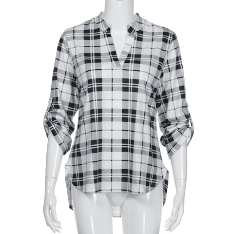 Women Casual Spring Print V-neck Three Quarter Plaid Shirt Top Blouse - Fashion Shopping 247