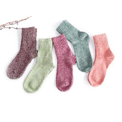 5 Pairs of Women Wool Cashmere Thick Warm Soft Solid Casual Sports Socks - Fashion Shopping 247