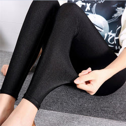 Women's Shiny Thin Tights Full Ankle Length 9 Point Basic Leggings - Fashion Shopping 247
