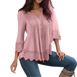 Fashion Women Lace V Neck T-Shirt Casual Loose Tops Blouse Shirts Watermelon Red / Xxl