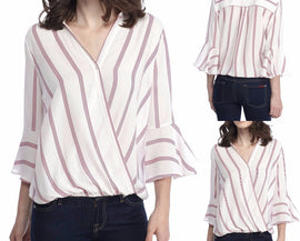 Womens Sexy Ladies Casual Striped Shirt Three Quarter Sleeve Top Tank Blouse - Fashion Shopping 247