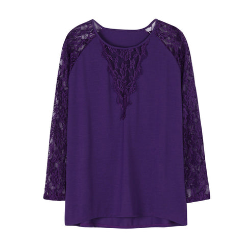 Women's Long Sleeve Solid Plus Size Lace Casual Blouse Loose Tops T-Shirt - Fashion Shopping 247