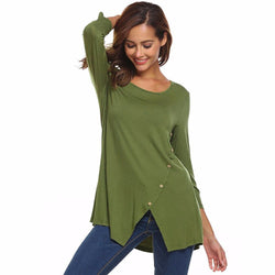 Womens Solid Split Hemline Casual T-Shirt Blouse Tunic Tops With Buttons M