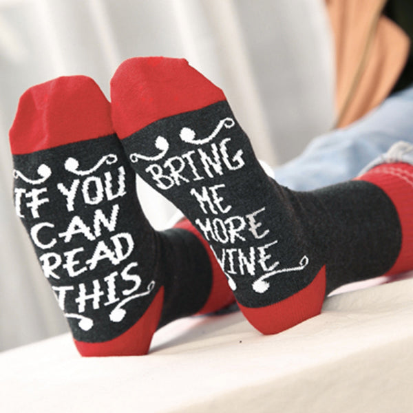 Women Men Unisex Adult If You Can Letter Print Cute Knit Mid Long Socks - Fashion Shopping 247