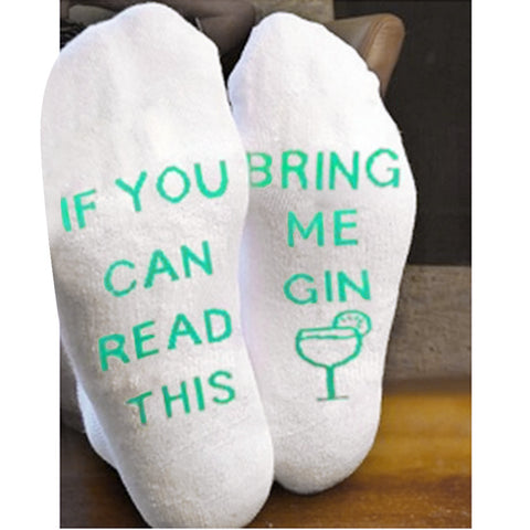 Women Men White Mesh Letter Print Short Bring Me Gin Funny Socks - Fashion Shopping 247