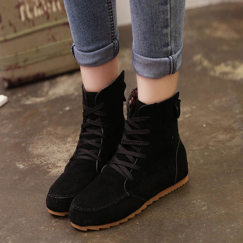 Women Flat Ankle Snow Motorcycle Boots Female Suede Leather Lace-Up Boot Black / 35