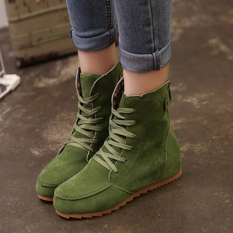 Women Flat Ankle Snow Motorcycle Boots Female Suede Leather Lace-Up Boot Green / 36