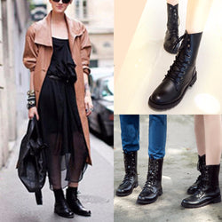 Women Men Lace Up Flat Biker Military Army Combat  Black Boots Shoes - Fashion Shopping 247