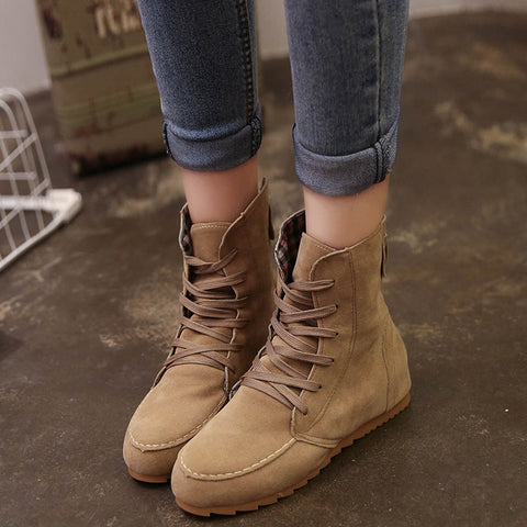 Women Flat Ankle Snow Motorcycle Boots Female Suede Leather Lace-Up Boot Kahki / 37