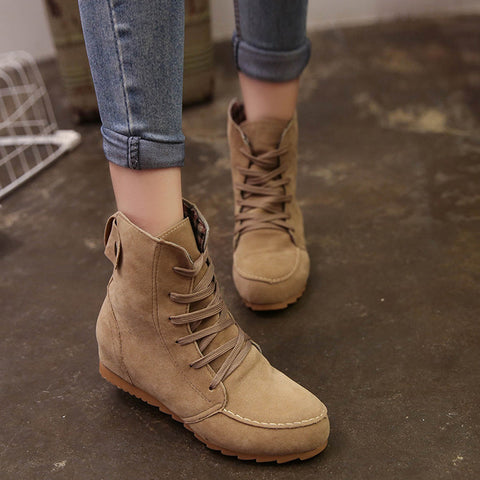 Women Flat Ankle Snow Motorcycle Boots Female Suede Leather Lace-Up Boot Kahki / 39