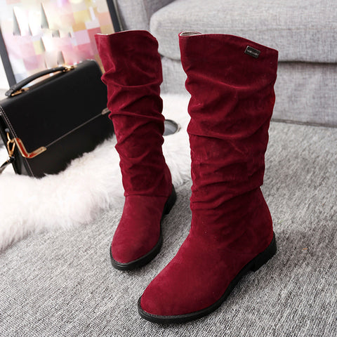 Autumn Winter Boots Women Sweet Boot Stylish Flat Flock Shoes Snow Red / 36