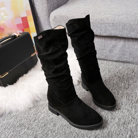 Autumn Winter Boots Women Sweet Boot Stylish Flat Flock Shoes Snow Black / 39